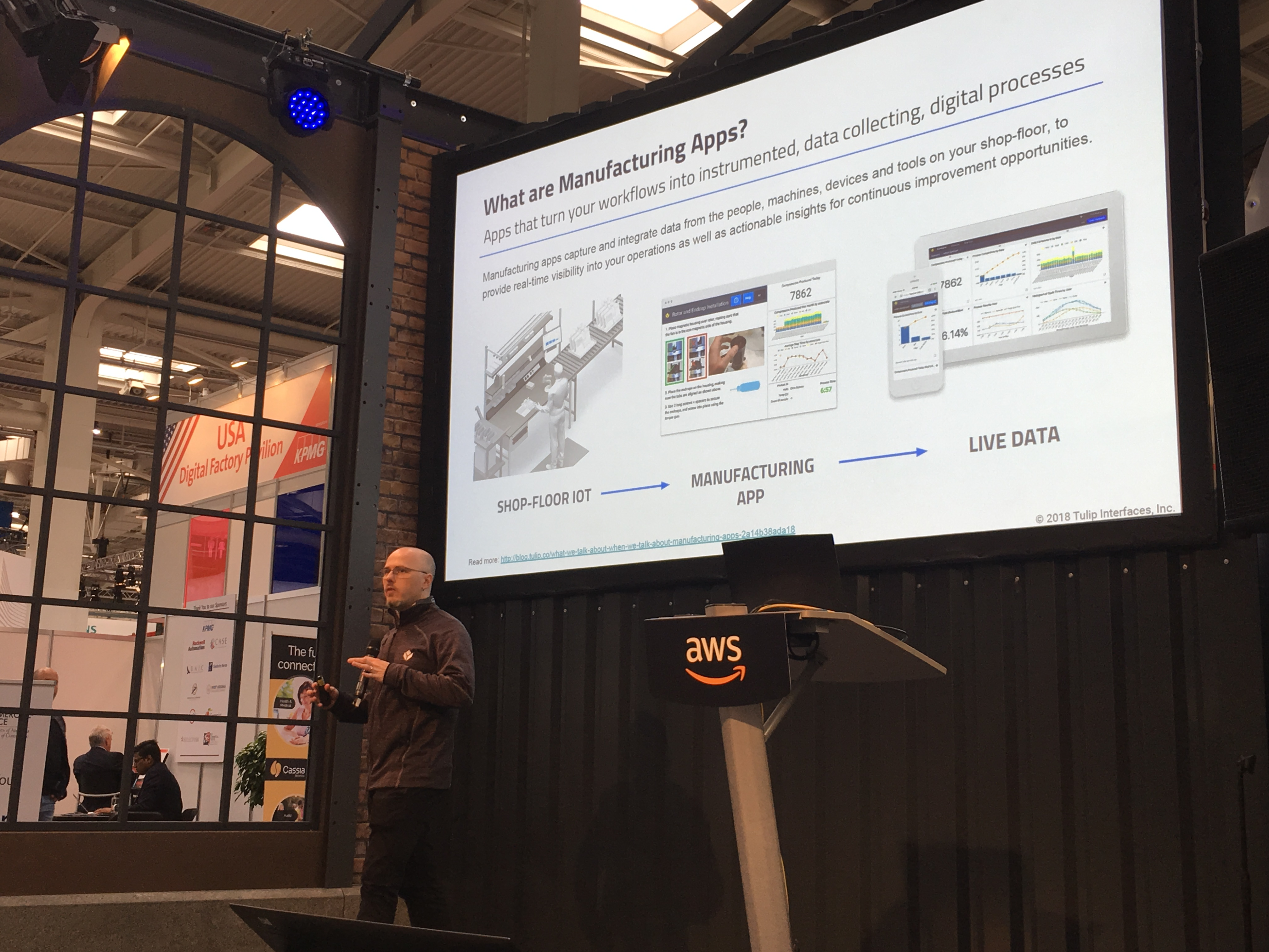 Rony Kubat, Tulip's Co-founder, delivering a lecture at the AWS Pavilion in Hannover Messe